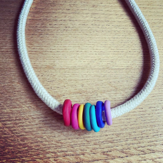 Rope and handmade polymer clay bead rainbow necklace