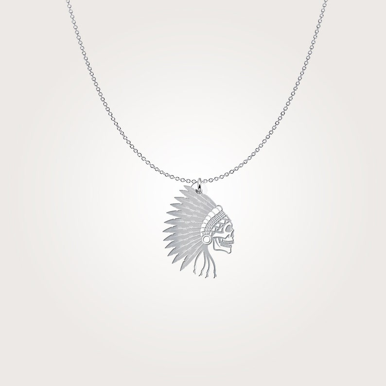 Unique gift idea Skull and Feather Beautiful  Indigenous Charm Amerindian Necklace