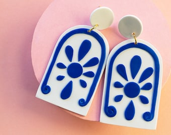 Statement greek inspired earrings, Dangle Drop earrings, Blue and white earrings. Polymery Clay hand made earrings. Santorini earrings