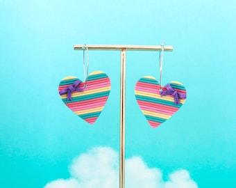 Rainbow earrings, Heart earrings, Heart rainbow drops, statement earrings, dangle heart earrings, Hoops earrings, Hoops heart earrings.
