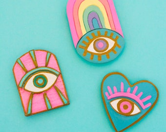 Evel Eye Magnets, Fridge magnets, Decorative Magnet, Colorful Magnets Cute Evel Eye Handmade Colorfully, Rainbow evel eye, Heart evel eye
