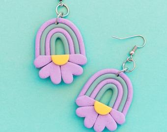 Rainbow flower dangle earrings. Statement rainbow earrings, daisy flower earrings