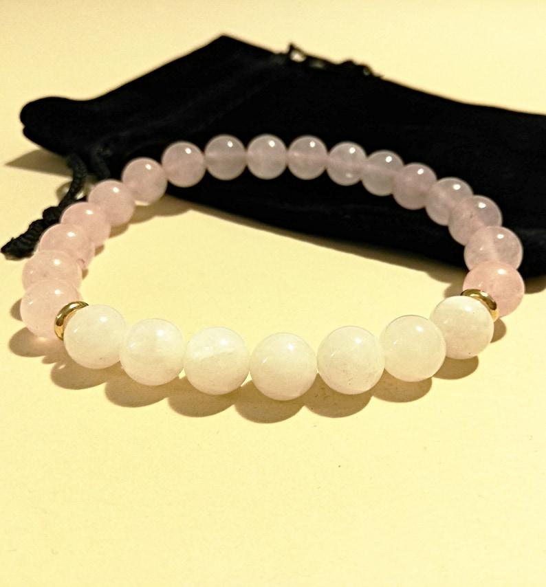 8mm Rose Red /& Black Moonstone Crown Distance Beads Women Men Bracelets Jewelry