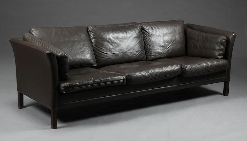 Danish 3 seater brown leather sofa