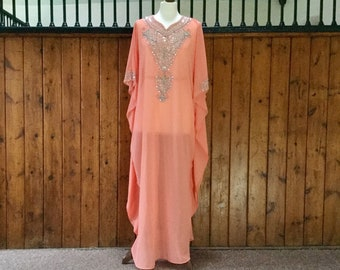 f09377c3e930b Moroccan Dubai abaya Kaftan caftan coral sequins beads appliqué maxi dress  wedding baby shower maternity bridesmaid UK 10 12 14 16 18 20 22