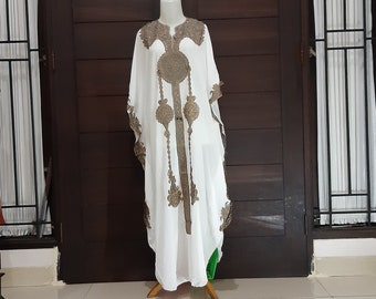 34b4c9a6e4 Moroccan Dubai abaya off white gold lace embroidery Kaftan maxi dress cover  up caftan US S to XXXL UK 10 12 14 16 18 20 24