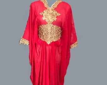 8020d68e33b Moroccan Dubai kaftan red gold lace embroidery abaya maxi dress wedding  baby shower cover up bridesmaid UK6 8 10 12 14 16 18 20 22