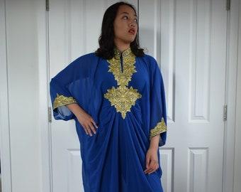 Moroccan Dubai abaya kaftan Royal blue gold lace embroidery maxi dress cover up caftan US S to XXXL  UK 10 12 14 16 18 20 24