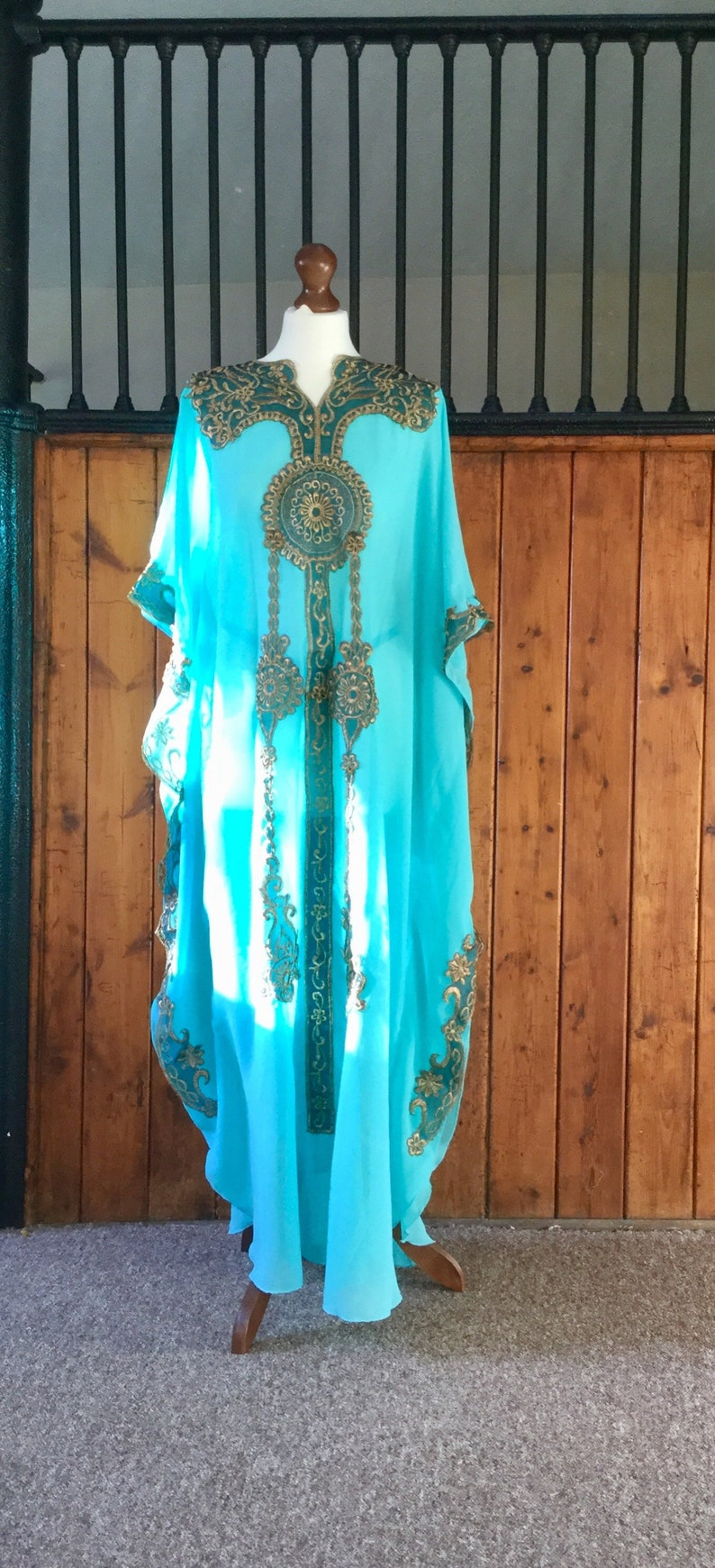 fd03bd7bb400c Moroccan Dubai abaya kaftan turquoise gold lace embroidery | Etsy