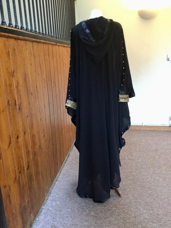 Moroccan Dubai abaya hooded kaftan cosplay pagan gothic dress S to XXXL Petite  UK8 10 12 14 16 18 20 24