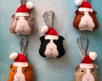 Felt Guinea Pig Handmade Christmas Tree Decoration Gift Holiday Ornament Bauble