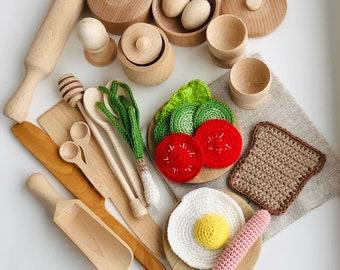 "5pcs 2.5/"" Wooden Spice Bowls Kitchen Accessories Toy Kitchen Kids Wooden Toys"