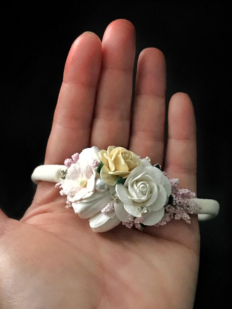 Whitepinkyellow flower Headband Hair Bows,Hair Accessory,Baby Headband,Photo Prop,Birthday Baby Girl Spring Flower Crown Bows for Girls