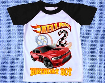 457ee8ad2 Inspired Hot Wheels Birthday Party Theme Raglan Short Sleeves Tshirt  Personalized Name & Age Unisex Clothing Family Matching tees all Sizes