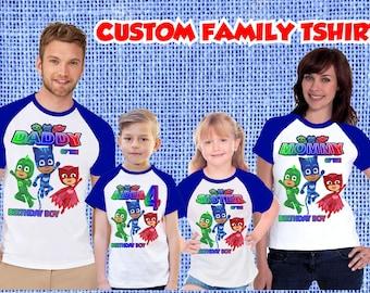 74f3c6417b Family Set PJ mask Birthday Party Theme Raglan Short Sleeves Tshirt  Personalized Name & Age Unisex Clothing Family Matching tees all Sizes