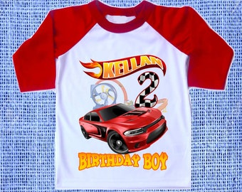 050921704 Inspired Hot Wheels Birthday Party Theme Raglan 3/4 Sleeves Tshirt  Personalized Name & Age Unisex Clothing Family Matching tees all Sizes