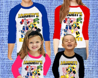 9a5277772 Family Set Rescue Bots Birthday Party Theme Raglan 3/4 Sleeves Tshirt  Personalized Name & Age Unisex Clothing Family Matching tees all Sizes