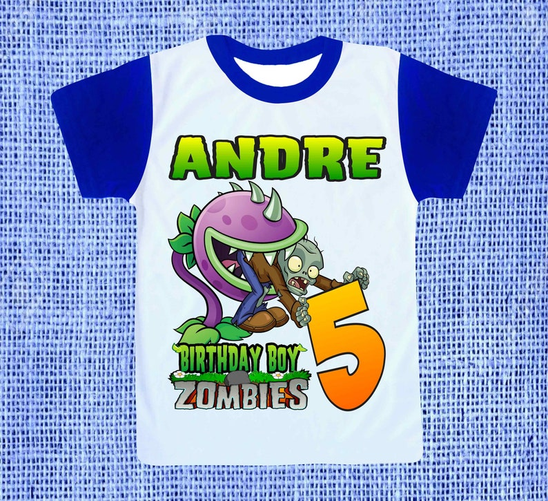 Plants vs Zombies Personalized Birthday Party Favor Gift T-Shirt NEW