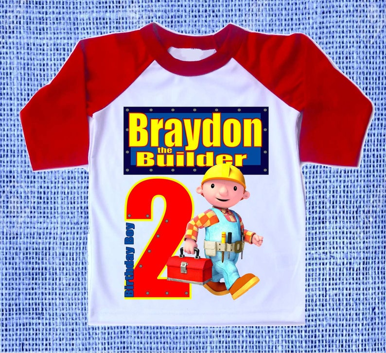 New Personalized Custom Bob the Builder Birthday T-Shirt Party Favor