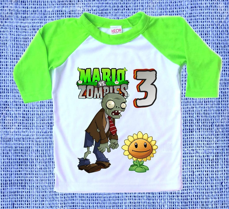 Inspired Plants vs Zombies Birthday Party Theme Raglan 3/4 sleeve Tshirt  Personalized Name and Age Unisex Clothing Family Matching all Sizes