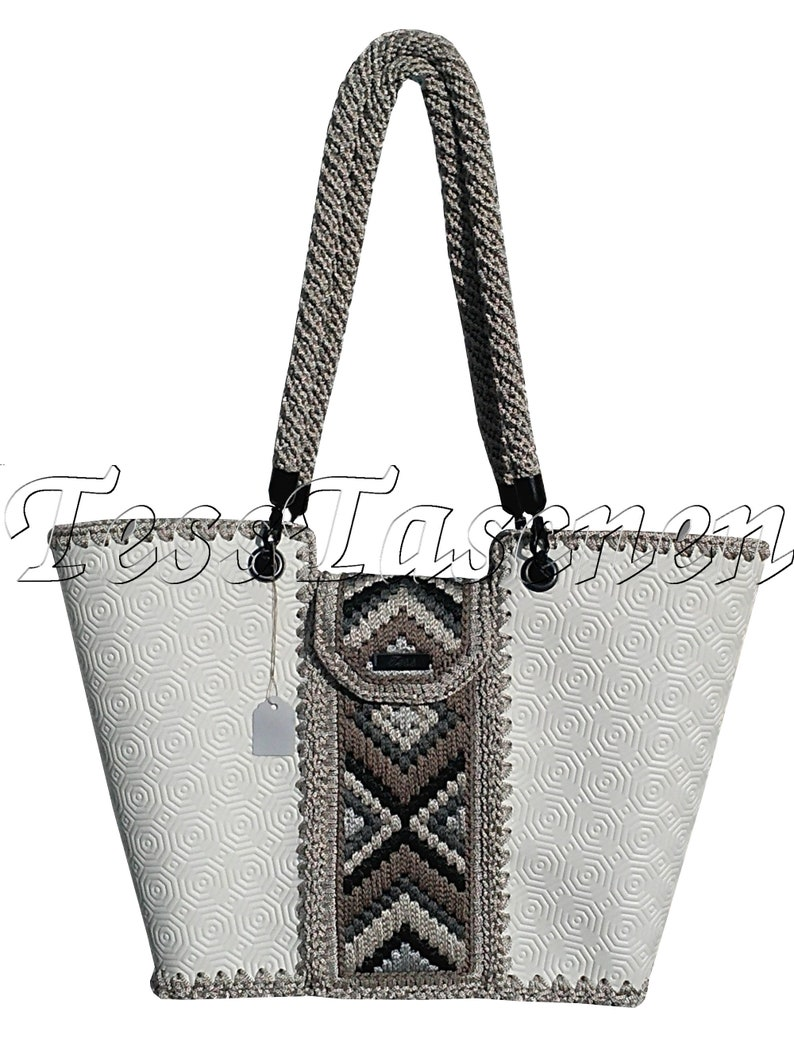 f8c085ed488 Women's large white Eco-leather shoulder bag with embroidery Knitted  Designer milk white Shopper bag Top handle bag.Tote Bag
