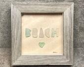 Genuine Sea Beach Glass Framed Art Picture, BEACH, Tiny Seafoam Heart, Surf-tumbled Beach Glass, One-of-a-Kind Original, Mosaic, Shadow Box