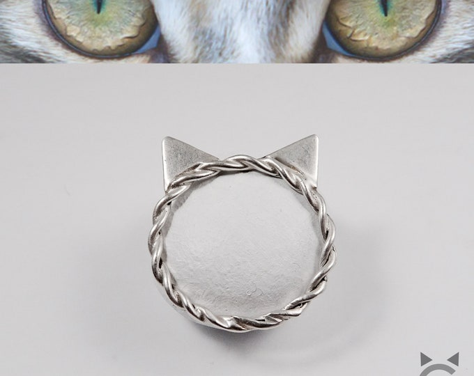 Sterling Silver Twisted Band, Cat Ring😽