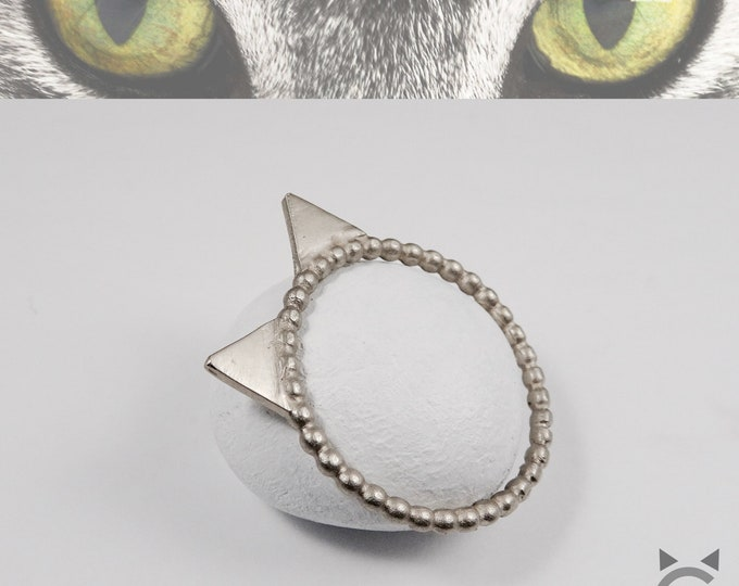 White Gold, Beaded Band, Cat Ring😽