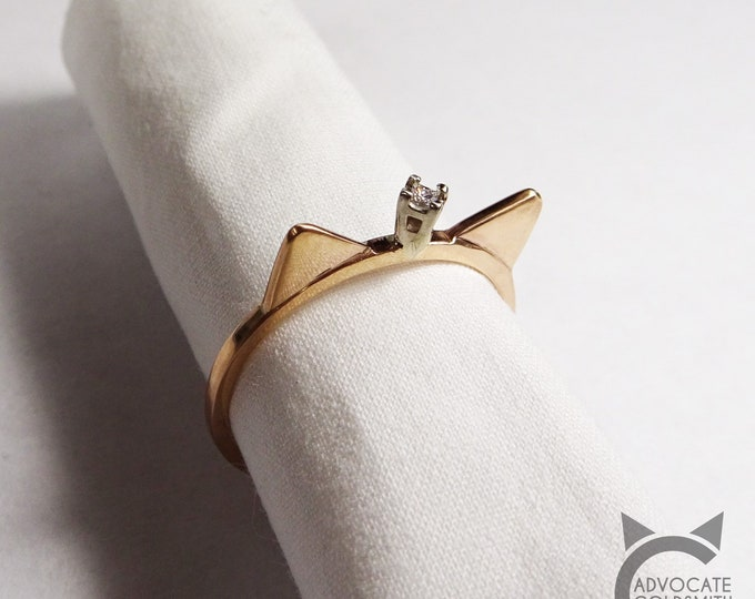 14k Rose Gold, Solitaire Diamond, Cat Crown Ring💍