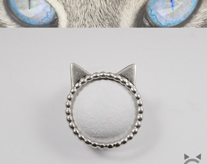 Sterling Silver, Beaded Band, Cat Ring😺