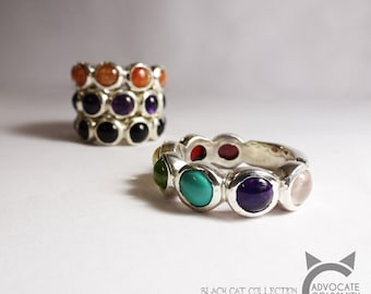 'Black Cat Collection', Candy Coloured Gemstone Ring