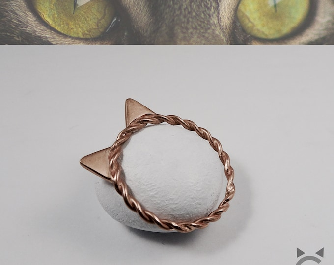 Rose Gold, Twisted Band, Cat Ring💕