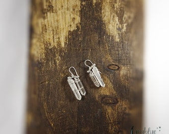 Rough clear quartz crystal earrings with half moon