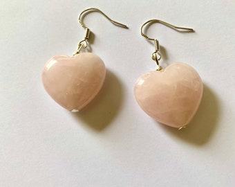 Rose Quartz Heart Earrings / 925 silver