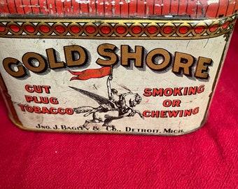 Antique Gold Shore Tobacco Tin