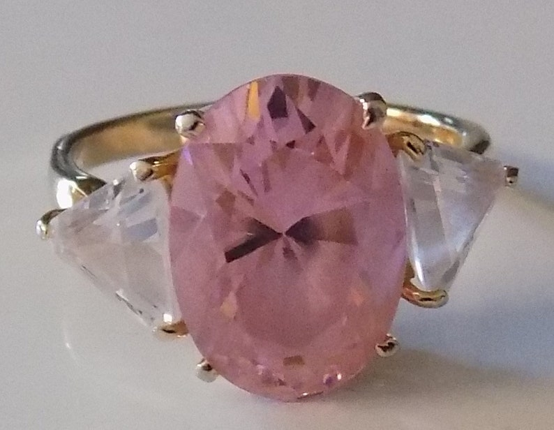 18K Gold Electroplate Just a Fun Ring Vintage Colorful and Eye-catching Pink Ring Size 10