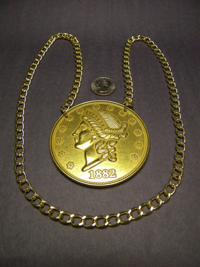 Display either side Giant Flying Eagle Necklace Made from a 3 inch medallion of an 1856 Flying Eagle cent.