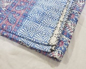 Blue handmade Kantha BedCover, Geometric Design Kantha Blanket Throw, Cotton Kantha Bedspread, Blue Indian Kantha Queen Size