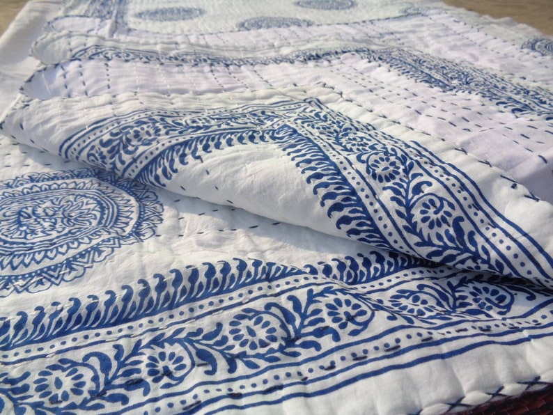 BedCover Throw Perfect Match For Your bedroom Queen Size A Beautiful Indian Handmade Buta Print Kantha Quilt Kantha Bedspread