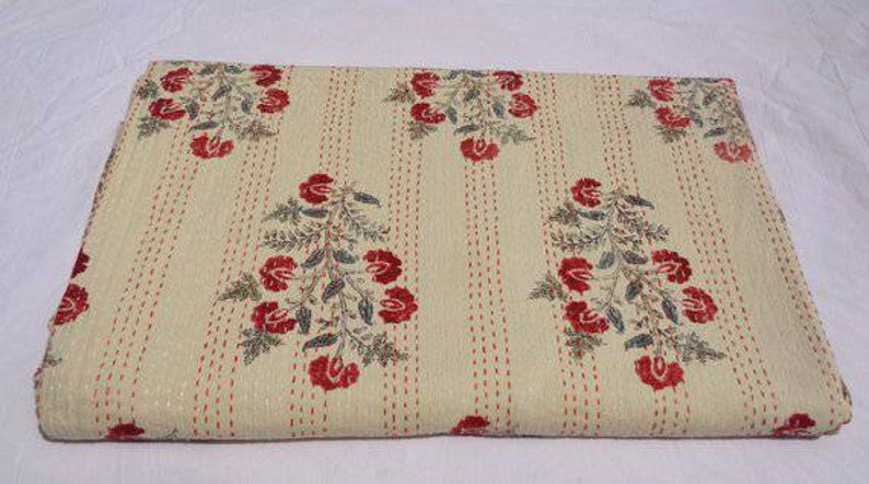 New rajasthani pattern kantha bedspread pure cotton throw multiple size with smooth touch perfect for winter season