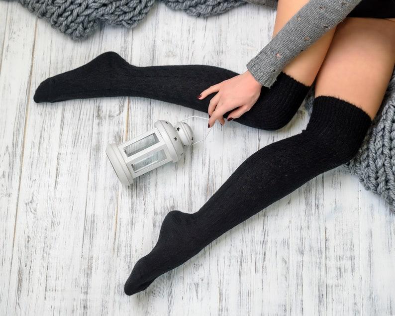aa0377ab3 Thigh high socks black Wool boot socks Knee high socks Winter