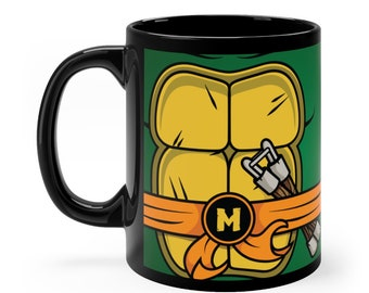 Michelangelo Mug, TMNT Mug, Ninja Turtles Gift, Turtles Mug, Nerdy Groomsmen Guys Funny Humorous Fathers Day Dad Husband Cartoon Movie