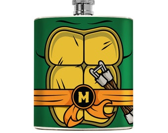 Nerdy Hip Flask Turtles TMNT Gifts For Him Superhero Geeky Wedding Couple Groomsmen Boyfriend Birthday Christmas Liquor Stainless Steel