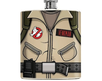 Nerdy Ghostbusters Flask Custom Drinking Gifts For Him Superhero Geeky Wedding Couple Groomsmen Boyfriend Birthday Christmas 6oz Hip Alcohol