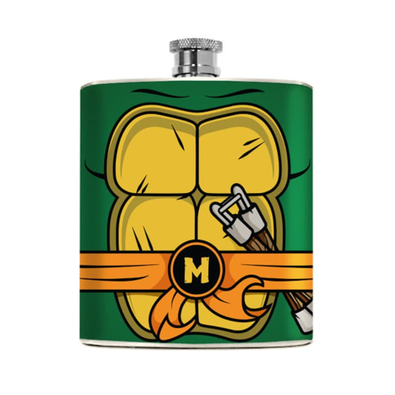 Nerdy Hip Flask Turtles TMNT Gifts for Him Superhero Geeky image 0