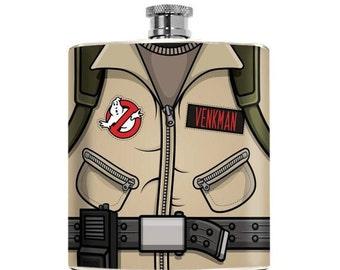 Nerdy Ghostbusters Flask  Custom Drinking Gift for Him Superhero Geeky  Couple Groomsmen Boyfriend Birthday Alcohol, Bridal Party Favor