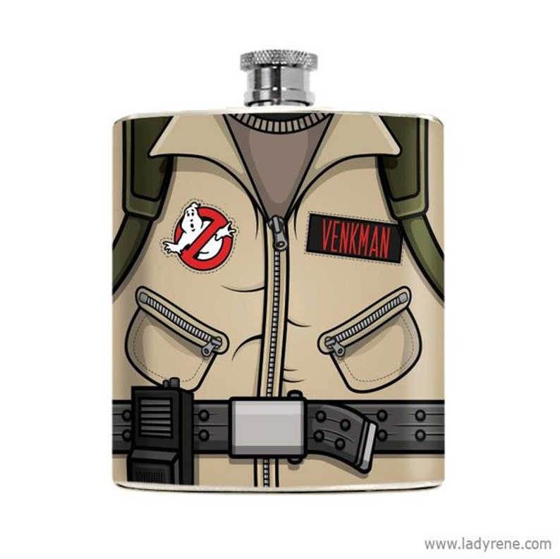 Nerdy Ghostbusters Flask Custom Drinking Gifts for Him image 0