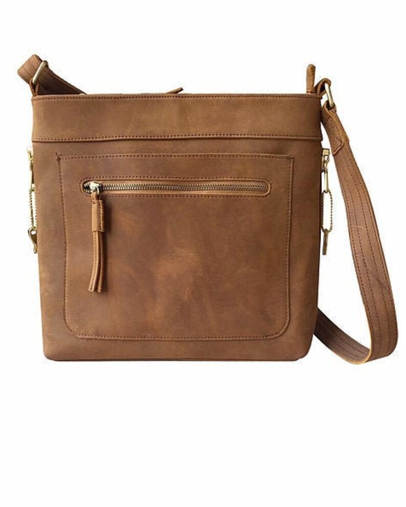 Vintage Leather Concealed Carry Satchel Crossbody Bag Concealment Bag CCW Bag