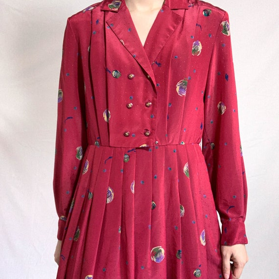 Vintage raspberry red color printed long sleeve pl