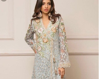 d4b67a1a07 Luxury Elmas 3 piece Organza and Silk Pakistani Designer Collection Inspired
